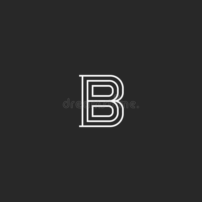 Het middeleeuwse monogram van het brievenb embleem Aanvankelijk voor adreskaartje eenvoudig embleem Creatief lineair de kunstontw royalty-vrije illustratie
