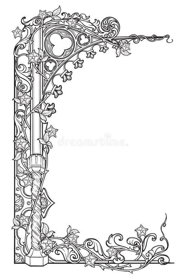 Het middeleeuwse rechthoekige kader van de manuscriptenstijl De gotische die stijl richtte boog met roze slingers wordt gevlecht  royalty-vrije illustratie