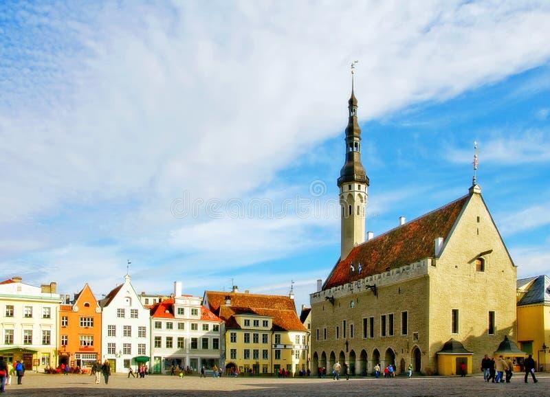 Het middeleeuwse Stadhuis van Tallinn stock foto's