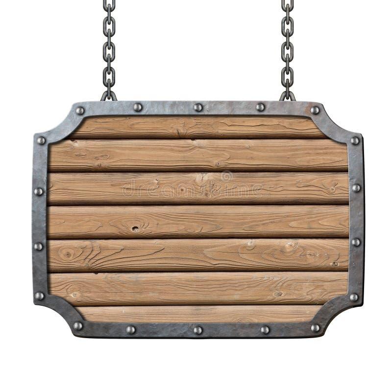Het middeleeuwse uithangbord van herberg houten planken royalty-vrije stock foto