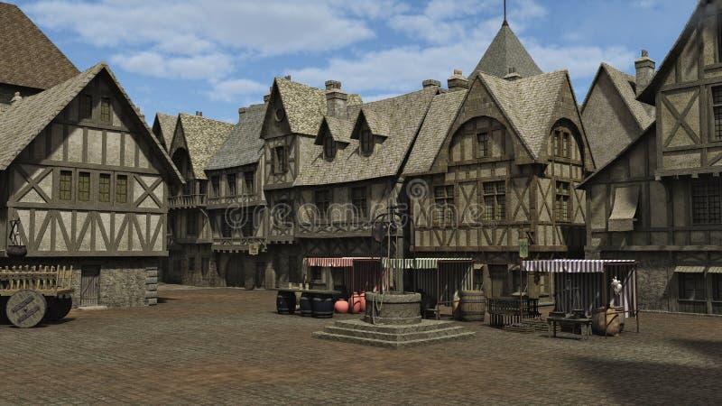 Het middeleeuwse Vierkant van de Stad royalty-vrije illustratie