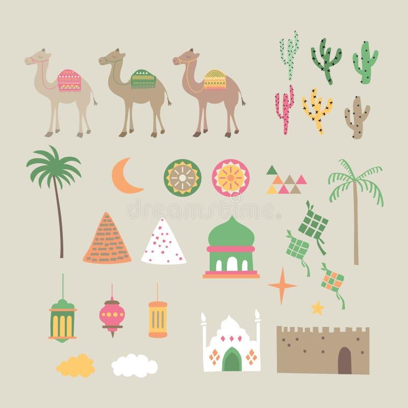 Het Midden-Oosten, eid Mubarak, ramadhan grafische reeks stock illustratie
