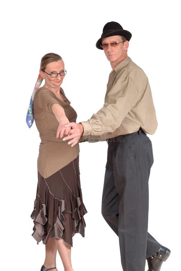 Het midden oude paar dansen stock fotografie