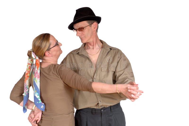 Het midden oude paar dansen royalty-vrije stock fotografie