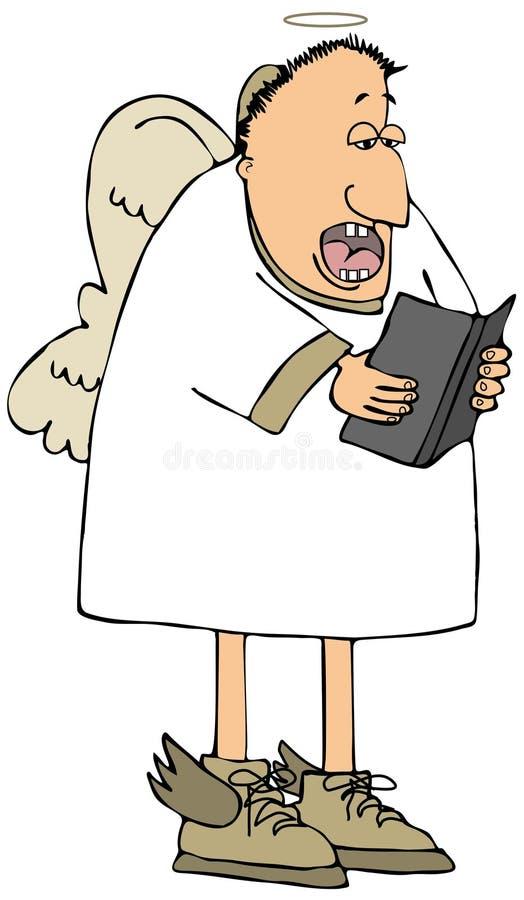 Het midden oude witte engel zingen vector illustratie
