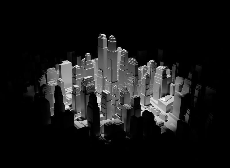 Het midden van 3d stad wordt verlicht door een schijnwerper stock illustratie