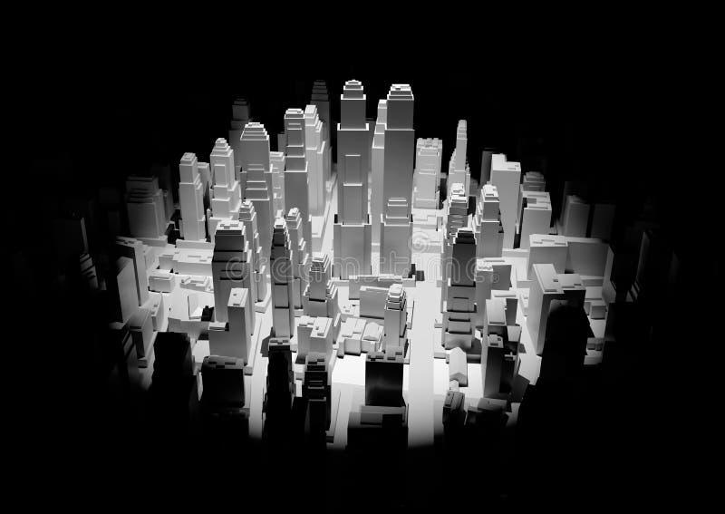 Het midden van 3d stad wordt verlicht door een schijnwerper royalty-vrije illustratie