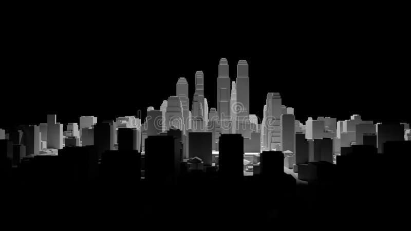 Het midden van 3d stad wordt verlicht door een schijnwerper vector illustratie