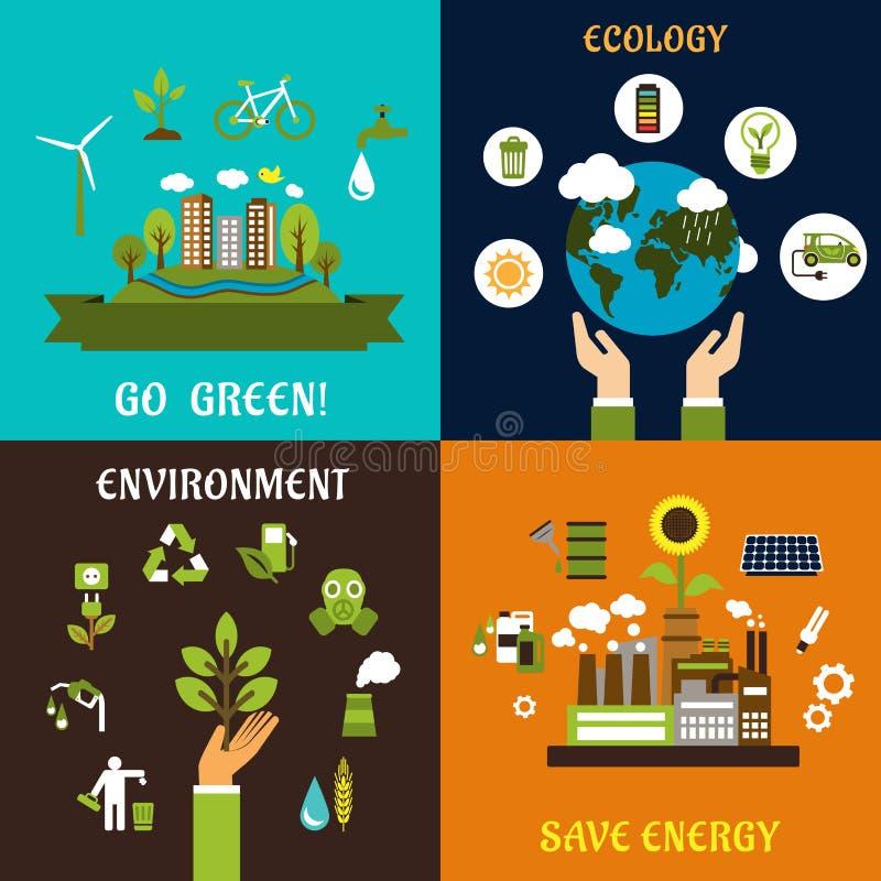 Het milieu, ecologie en bewaart energiepictogrammen vector illustratie