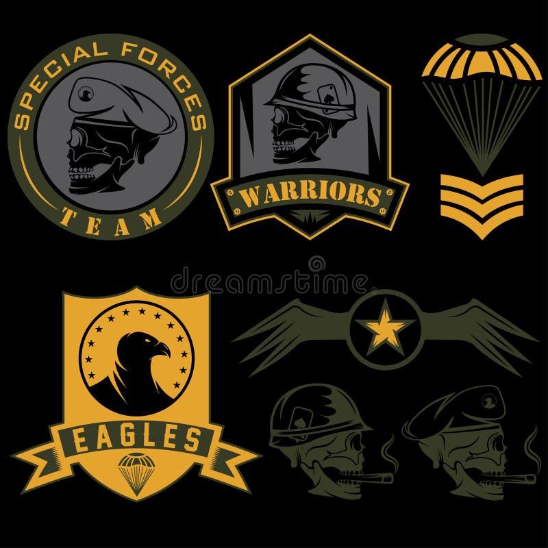 het militaire malplaatje van het embleem vastgestelde vectorontwerp royalty-vrije illustratie