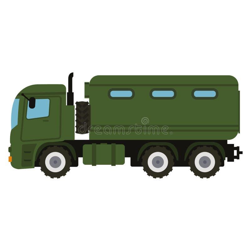 Het militaire materiaal van de voertuigvrachtwagen Zware reserve en speciaal vervoer stock foto
