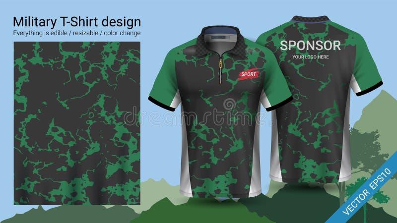 Het militaire ontwerp van de polot-shirt, met de kleren van de camouflagedruk voor wildernis, wandelingstrekking of jager, Vector stock illustratie