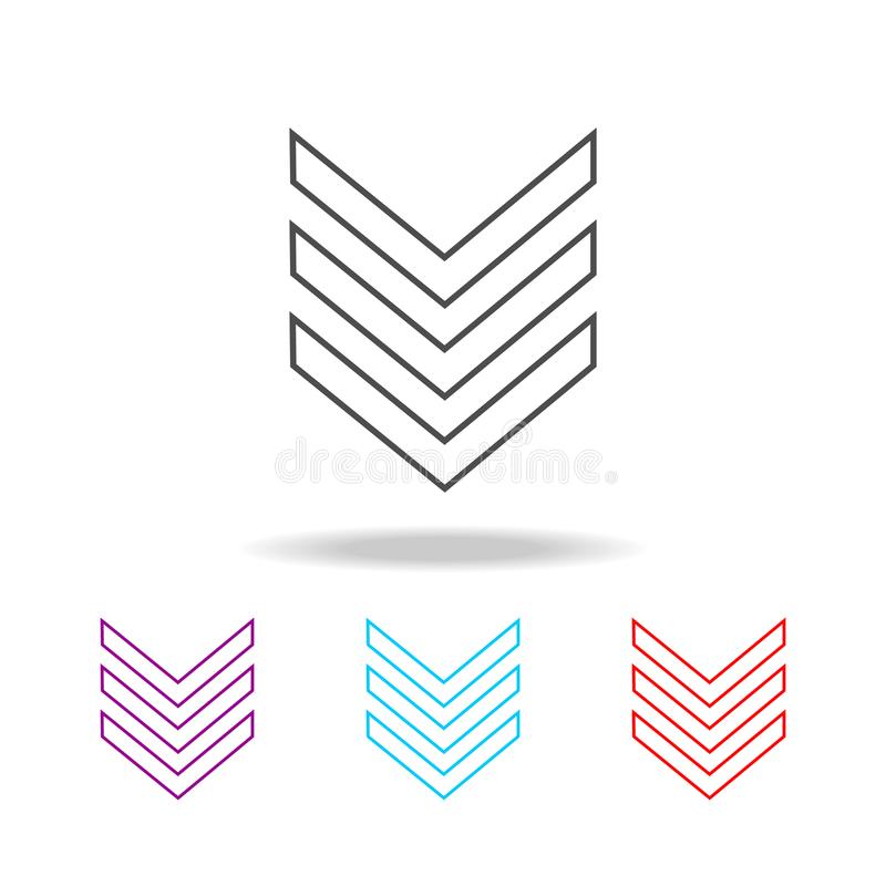 Het militaire pictogram van de embleem weelderige lijn Elementen van militair in multi gekleurde pictogrammen Grafisch het ontwer vector illustratie