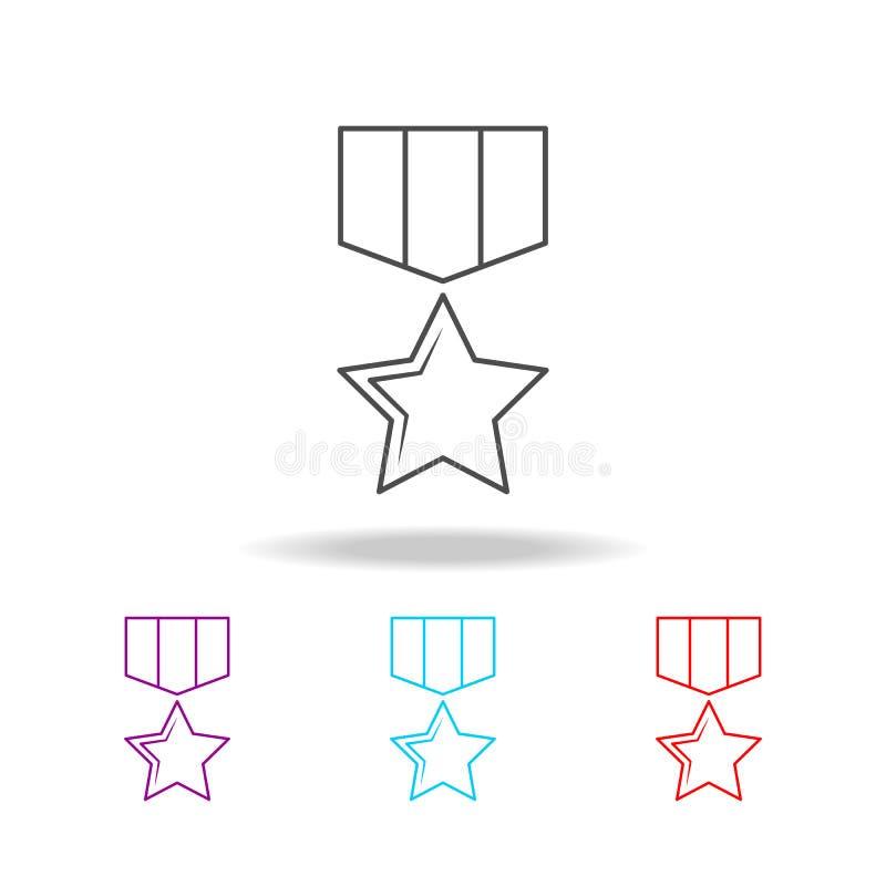 Het militaire pictogram van de medaillelijn Elementen van militair in multi gekleurde pictogrammen Grafisch het ontwerppictogram  royalty-vrije illustratie