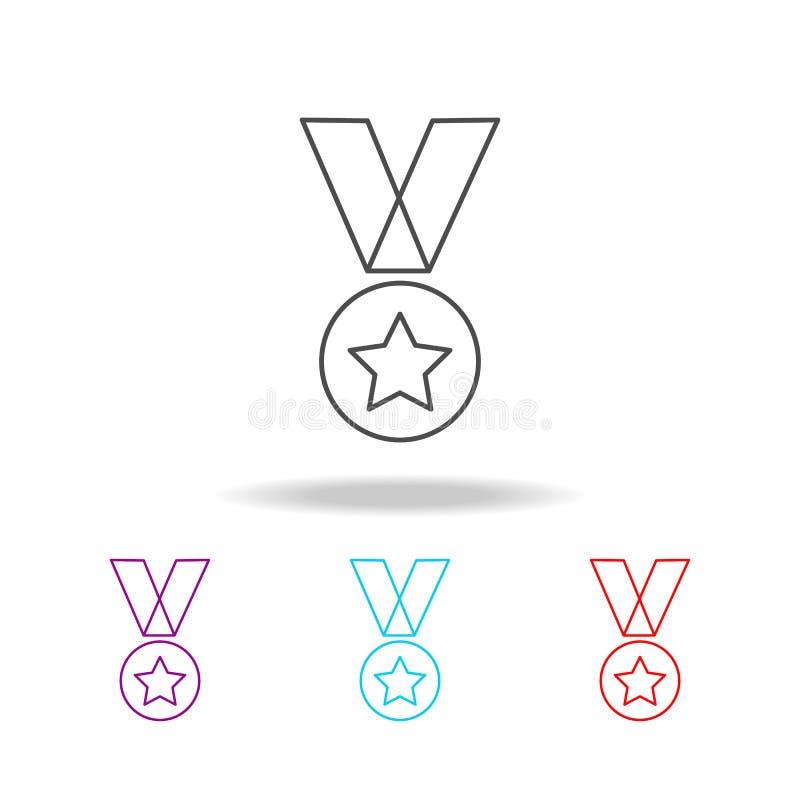 Het militaire pictogram van de medaillelijn Elementen van militair in multi gekleurde pictogrammen Grafisch het ontwerppictogram  stock illustratie