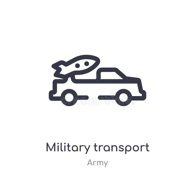 het militaire pictogram van het vervoeroverzicht ge?soleerde lijn vectorillustratie van legerinzameling editable dun slag militai stock illustratie
