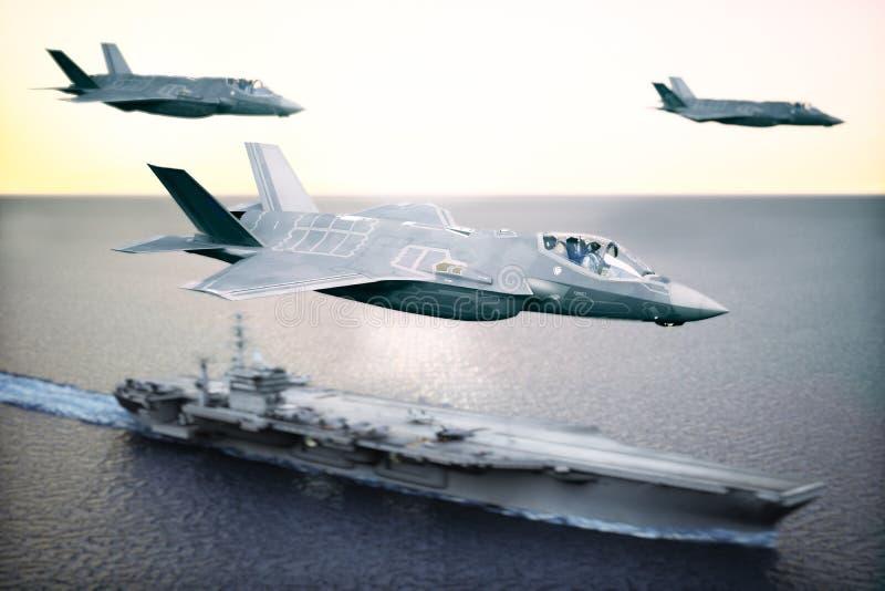 Het militaire Straaleskader die van de stakingskracht van F35 ` s boven in vorming met een zeedrager in de afstand vliegen royalty-vrije illustratie