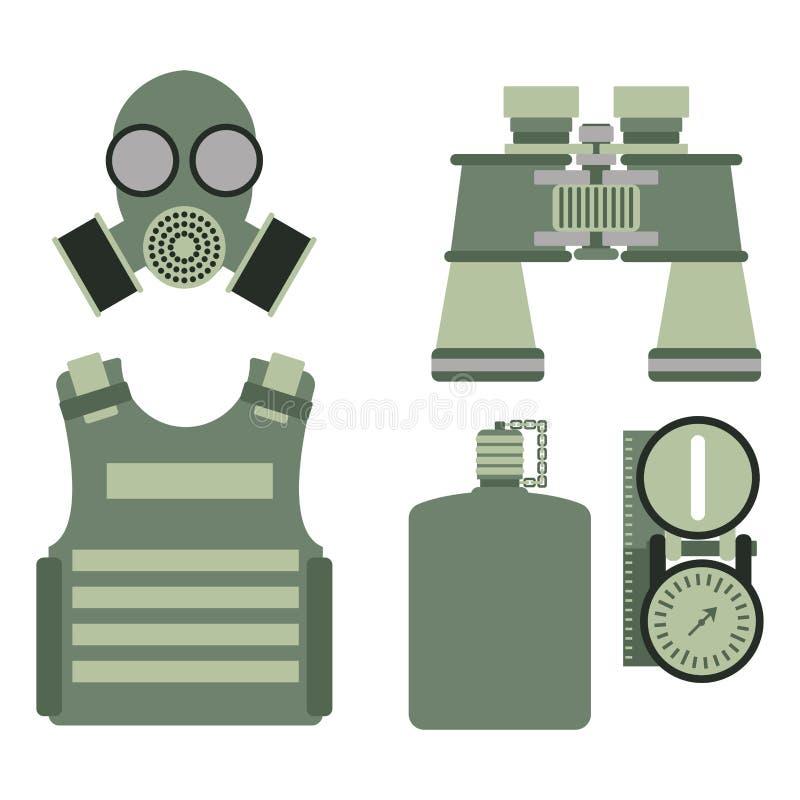 Het militaire van het de symbolenpantser van het lichaamspantser vastgestelde de krachtenontwerp en de Amerikaanse marine van de  stock illustratie