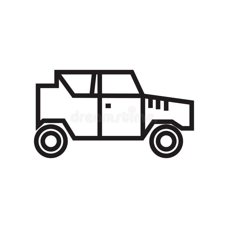 Het militaire vectordieteken en het symbool van het voertuigpictogram op witte achtergrond, het Militaire concept van het voertui royalty-vrije illustratie
