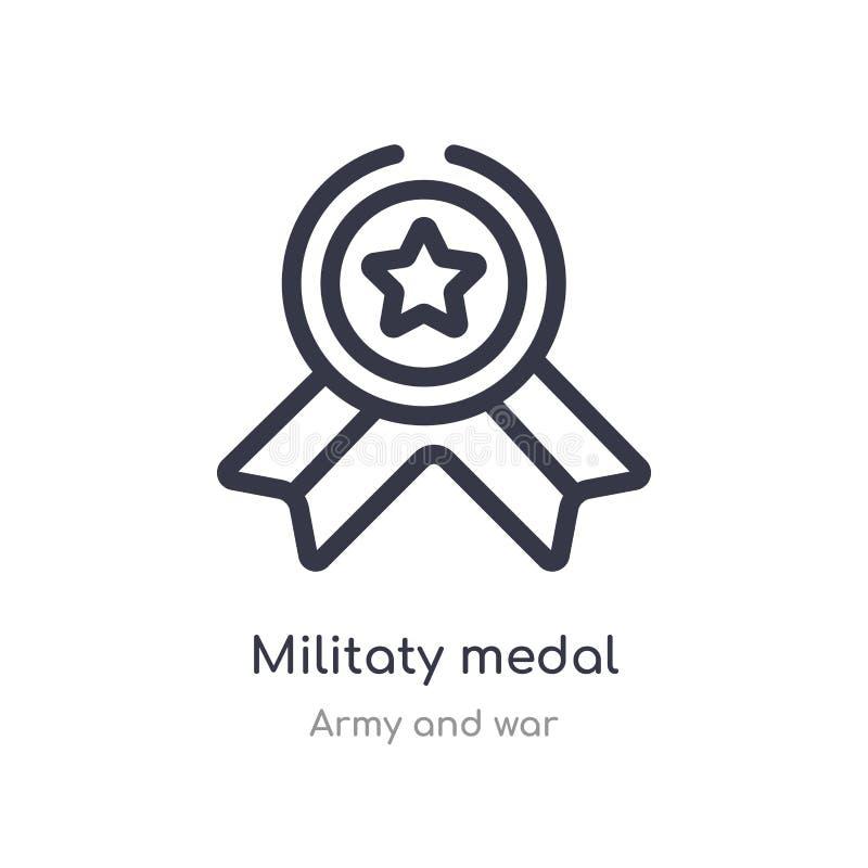 het militaty pictogram van het medailleoverzicht ge?soleerde lijn vectorillustratie van leger en oorlogsinzameling editable dunne stock illustratie