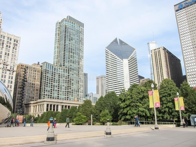 Het millenniumpark, Chicago is de stad van wolkenkrabbers De straten, de gebouwen en de aantrekkelijkheden van Chicago van de sta stock fotografie