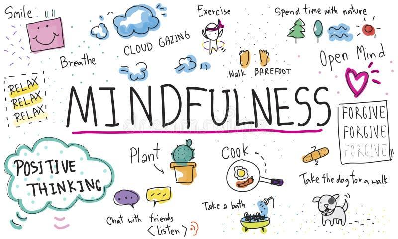 Het Mindfulnessoptimisme ontspant Harmony Concept royalty-vrije illustratie