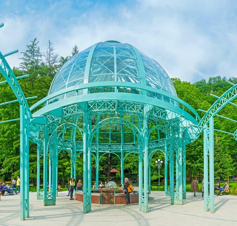 Het mineraalwaterpaviljoen in Borjomi stock afbeeldingen