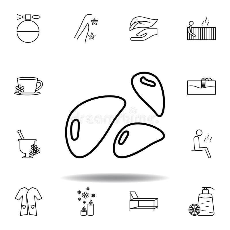Het minerale pictogram van het stenenoverzicht De gedetailleerde reeks van kuuroord en ontspant illustratiespictogram Kan voor We royalty-vrije illustratie