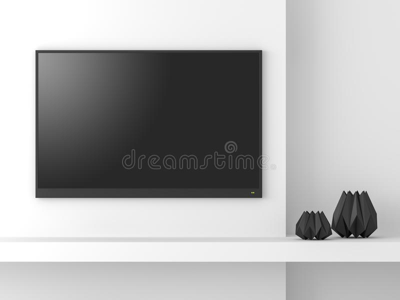 Het minimale 3d het schermmodel van stijl lege TV geeft terug vector illustratie