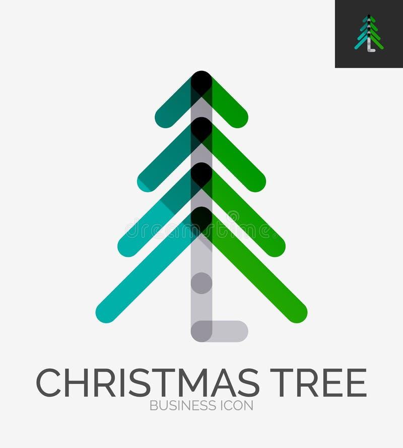 Het minimale embleem van het lijnontwerp, Kerstboompictogram royalty-vrije illustratie