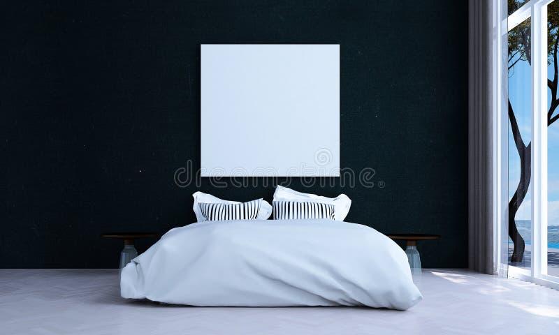 Het minimale slaapkamer binnenlandse ontwerp en de rode achtergrond van het bakstenen muurpatroon en de overzeese mening stock illustratie
