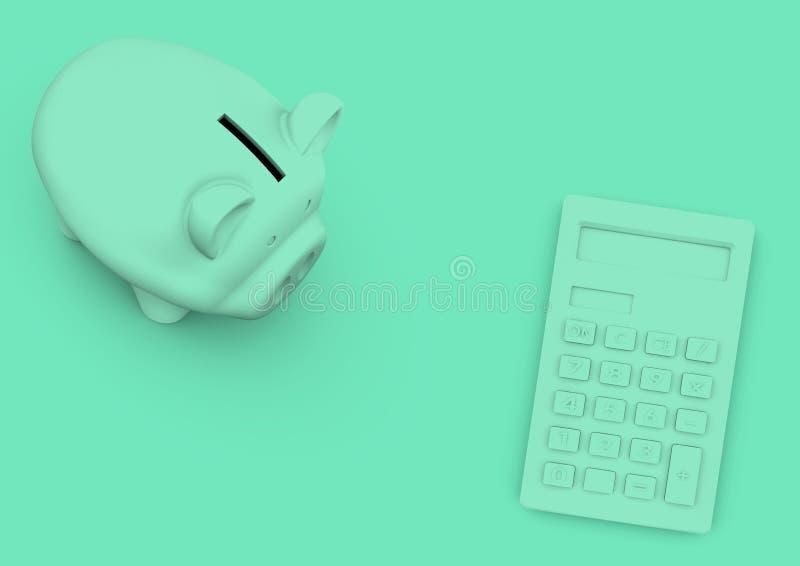 Het minimalistische concept van het spaarvarken en van de calculator voor boekhouding en royalty-vrije stock fotografie