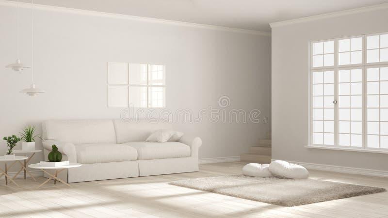 Het minimalistische eenvoudige duidelijke leven, zwart-wit wit, Skandinavisch c royalty-vrije illustratie