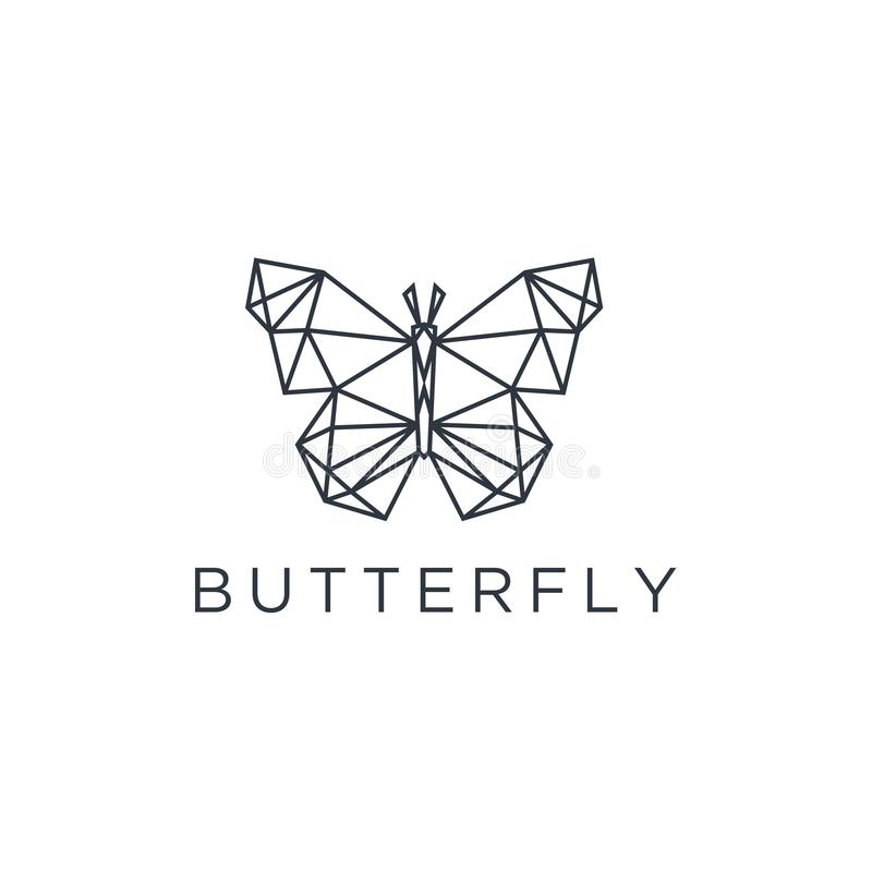 Het minimalistische elegante ontwerp van het Vlinderembleem met de stijl van de lijnkunst vector vector illustratie