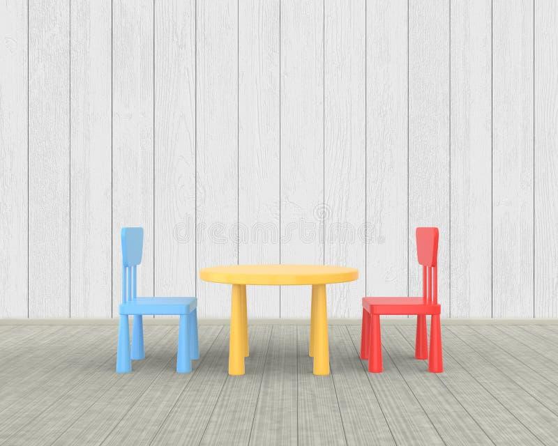Het minimalistische kinderdagverblijfbinnenland van een lijst en de stoelen van kinderen gekleurde op een witte houten achtergron royalty-vrije illustratie