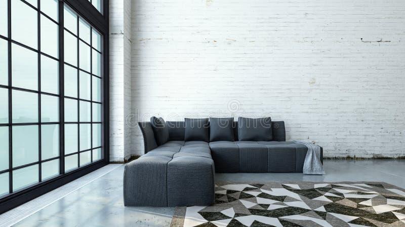 Het minimalistische moderne binnenland van de zolderwoonkamer vector illustratie