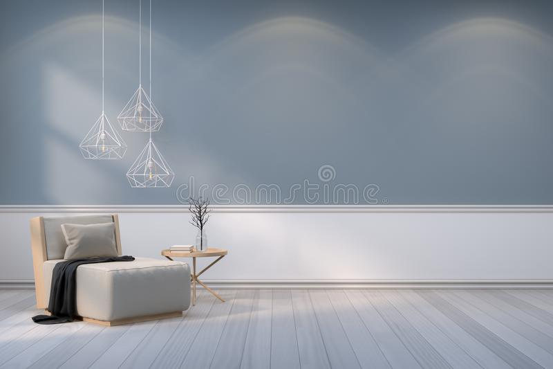 Het minimalistische ruimte binnenlandse ontwerp, de houten leunstoel met witte lamp op grijze muur en de houten vloer /3d geven t stock illustratie