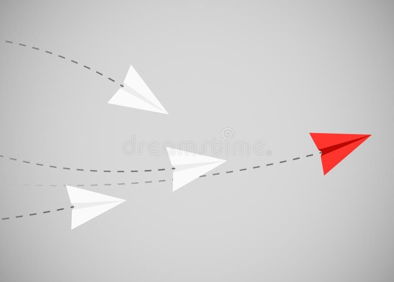 Het minimalistische stijl rode document vliegtuig toont richting voor witte degenen Leider, werkgever, manager, winnaarconcept royalty-vrije illustratie