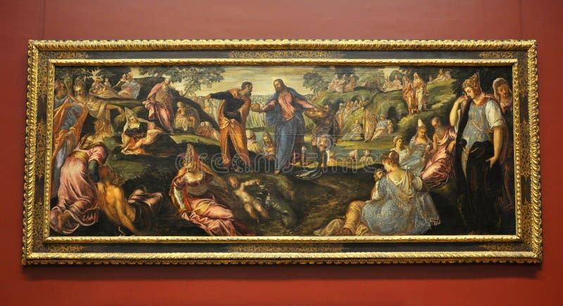 Het mirakel van Broden en Vissen, door Tintoretto stock afbeelding