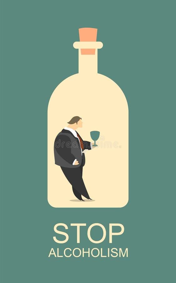 Het misbruik van de alcohol royalty-vrije illustratie