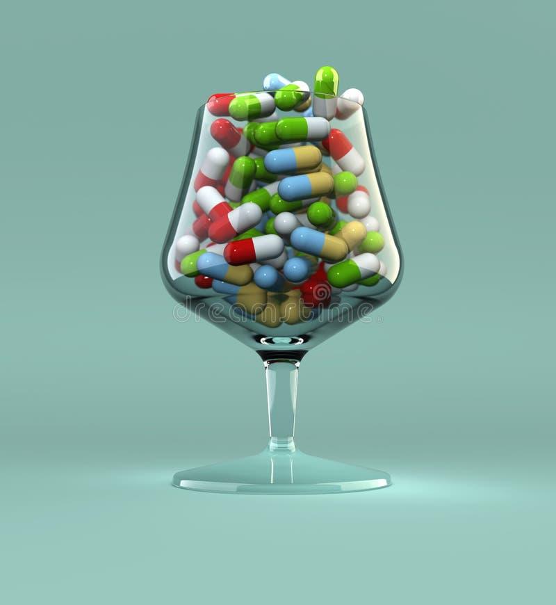 Het misbruik van pillen stock illustratie