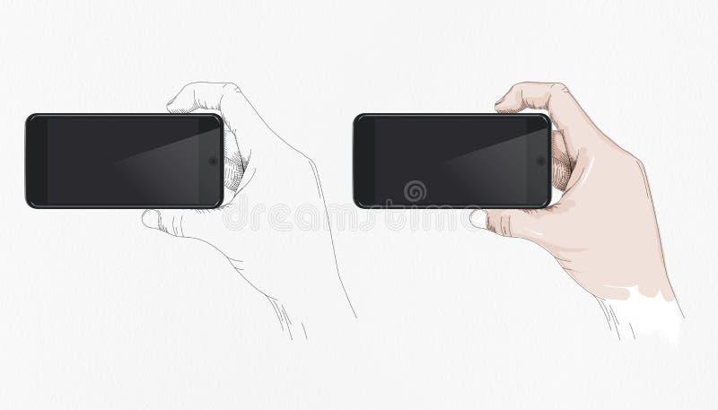 Het mobiele beeld van het Telefoonmodel, huidige met de hand Getrokken Menselijke Hand met stock afbeeldingen