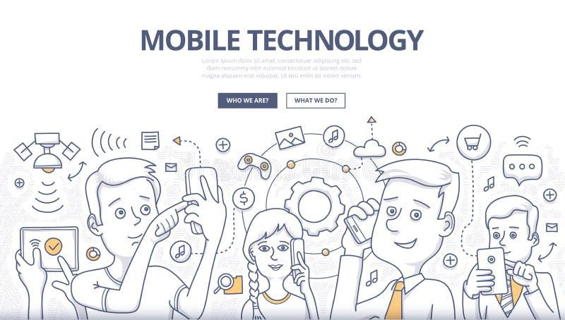 Het mobiele Concept van de Technologiekrabbel royalty-vrije illustratie