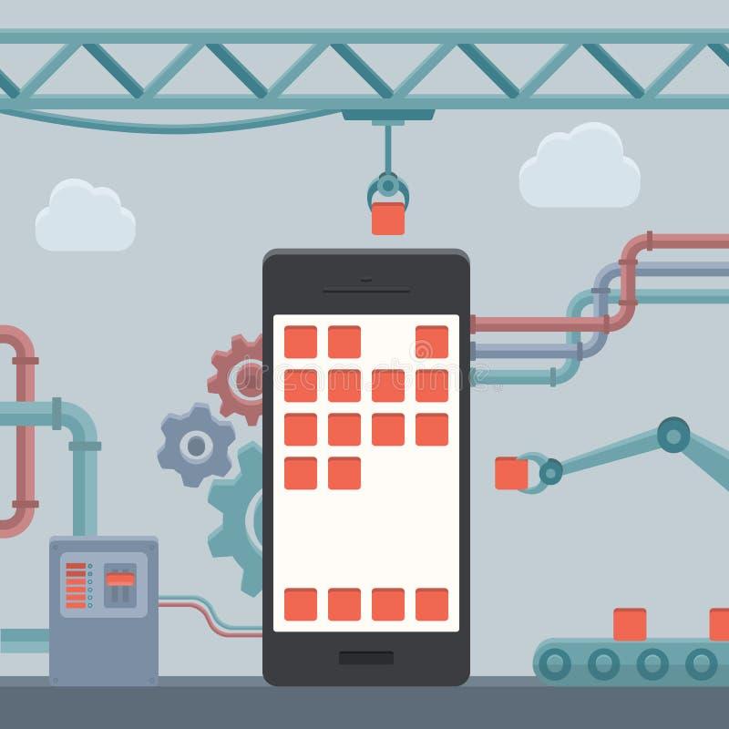 Het mobiele concept van de telefoonbouw royalty-vrije illustratie