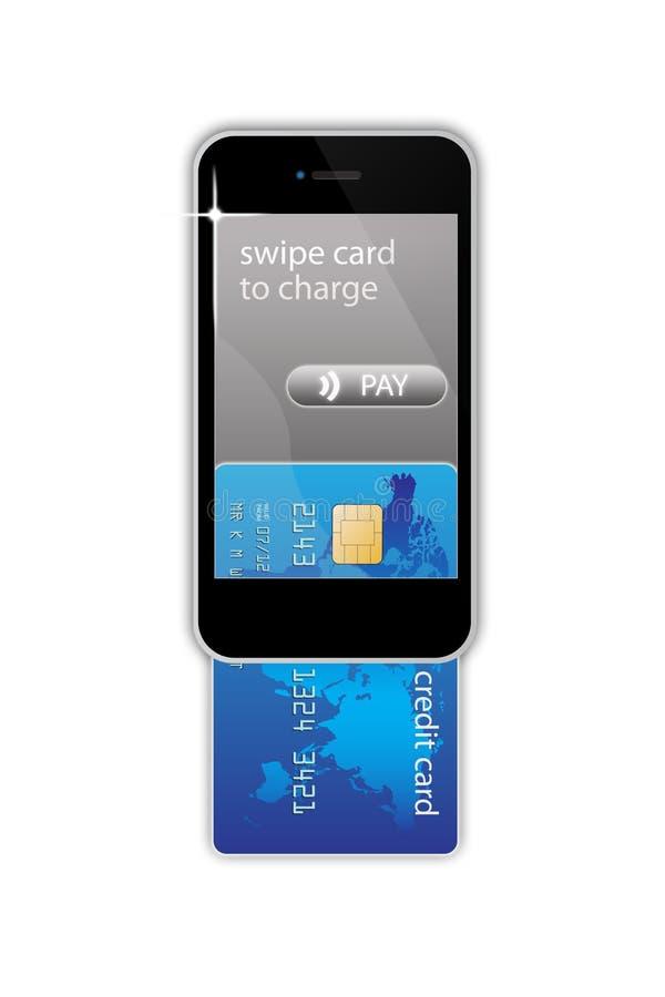 Het mobiele concept van de telefooncreditcard stock illustratie