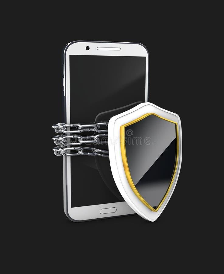 Het mobiele concept van de telefoonveiligheid Celtelefoon en schild en ketting rond, 3d Illustratie geïsoleerde zwarte vector illustratie