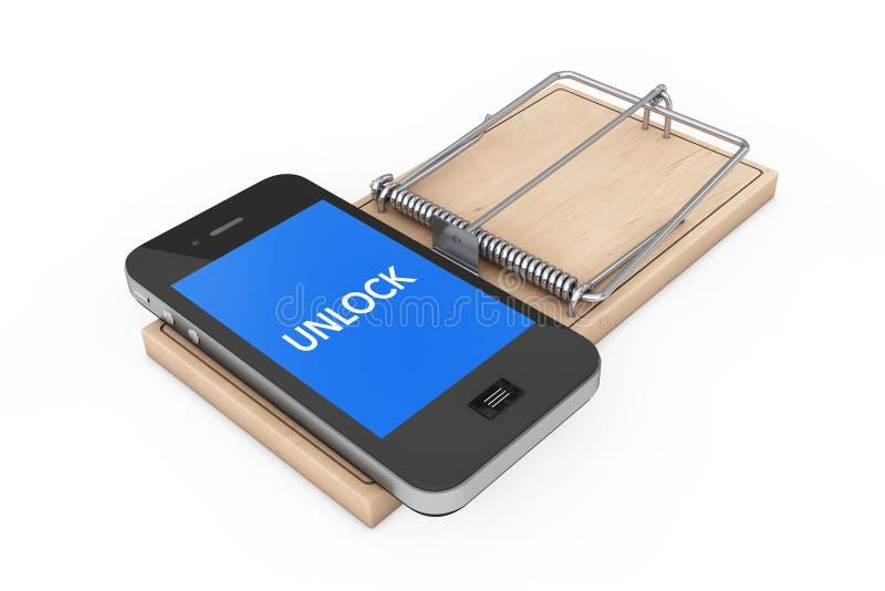Het mobiele concept van de telefoonveiligheid Mobiele Telefoon met Unlock Teken ove royalty-vrije illustratie