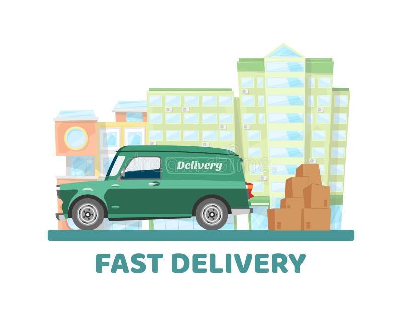 Het mobiele concept van de het vervoers vectorillustratie van de leveringsstad Lever online auto delend met de verpakking van doz vector illustratie
