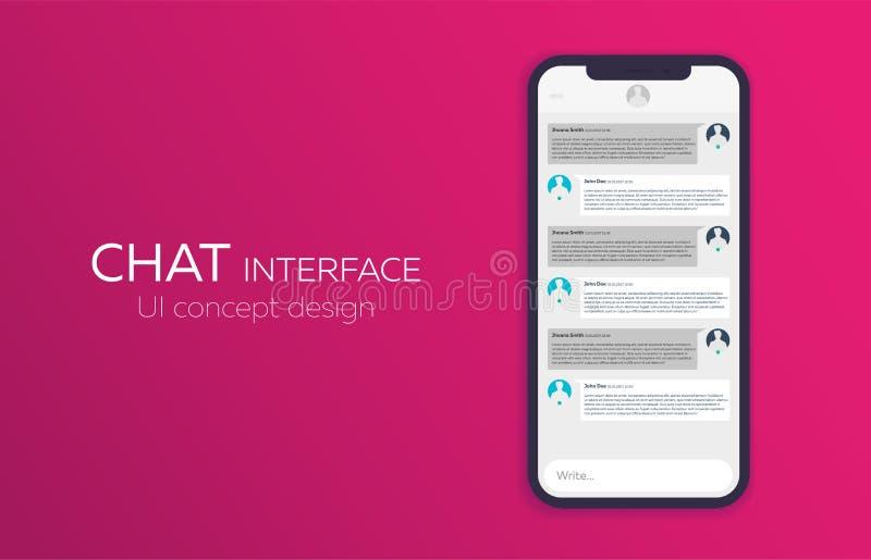 Het mobiele concept van het uiontwerp In Praatjetoepassing met Dialoogvenster Smsboodschapper Vector illustratie royalty-vrije illustratie