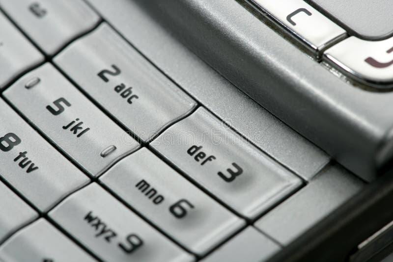 Het mobiele detail van het telefoon macrotoetsenbord royalty-vrije stock afbeelding